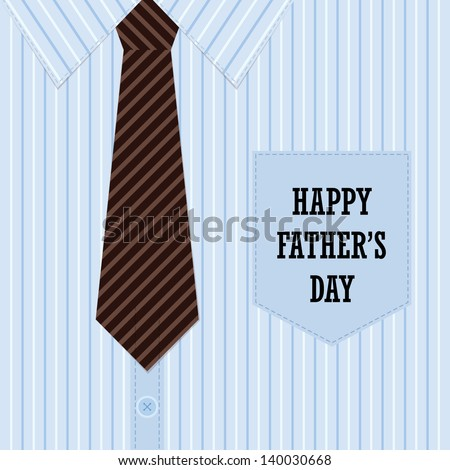 Happy Father's Day Greeting Card (shirt and tie design)  - stock vector