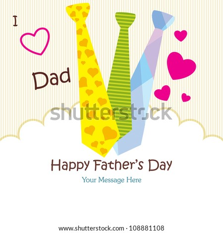Happy Father's Day Greeting Card / Tie Design - stock vector