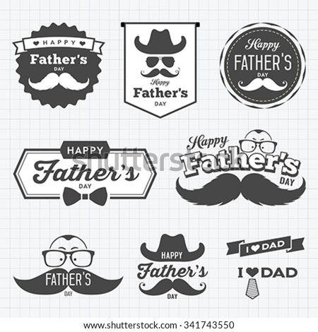 Happy Father's day labels logo black and white collection concept design background, vector illustration - stock vector