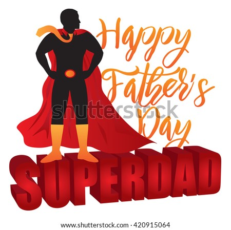 Happy Father's Day Super Dad 3D Text Superhero Silhouette Outline Color Isolated on White Background Vector Illustration - stock vector