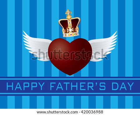 Happy Father's Day Text Flying Heart with Wings and Crown on Blue Stripes Pattern Background Vector Illustration - stock vector