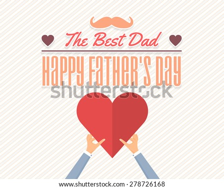 Happy Father's Day Vector Design. Announcement and Celebration Message Poster, Flyer. Heart Symbol Hold Hands Template - stock vector