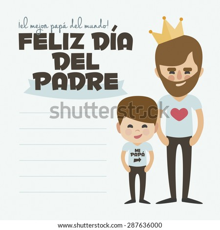 Happy Fathers day card. Vector Element Set. Dad with beard and son. Written in Spanish - stock vector