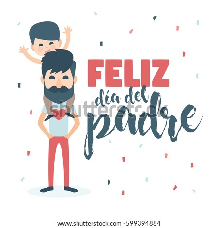 Happy Fathers day card. Vector Element Set Isolated. Dad with Beard and son. Written in Spanish
