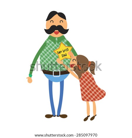Happy Fathers Day concept with happy father and his daughter - stock vector