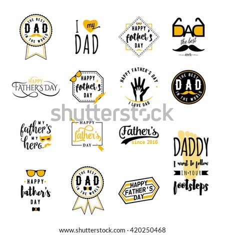 Happy fathers day greeting color overlays on white background. Dad felicitation patch, label, badge, insignia, logo set. Bow, mustache, glasses, hand elements for your design. From son, daughter - stock vector