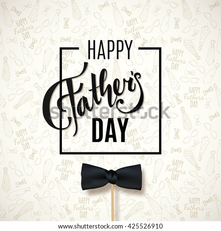 Happy Fathers Day greeting. Vector background with doodle neckties, bow tie and glasses.  - stock vector
