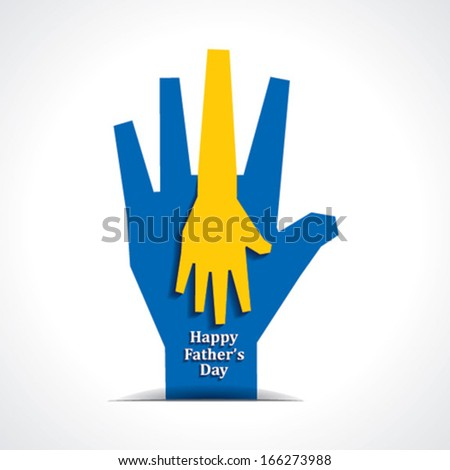 Happy fathers day with two hands of father and child background stock vector - stock vector
