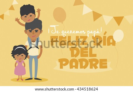 Happy Fathers day yellow card. Vector Element Set. We love you Dad! Happy Father's Day, written in Spanish