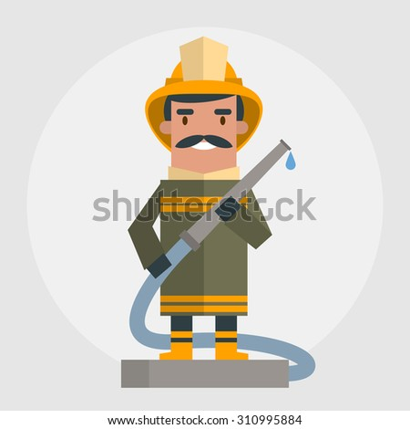 Happy fireman. Vector illustration of flat style - stock vector