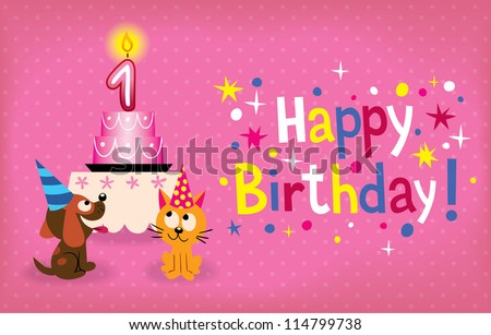1st Birthday Cake Images RoyaltyFree Images Vectors – Happy 1st Birthday Card