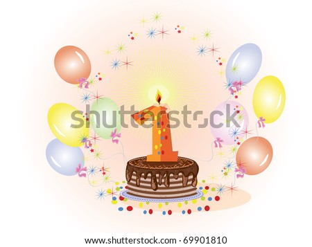 Happy First Birthday Cake - stock vector