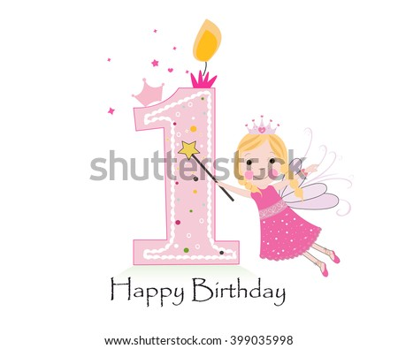 Happy First Birthday Candle Baby Girl Vector 399035998 – Happy 1st Birthday Card
