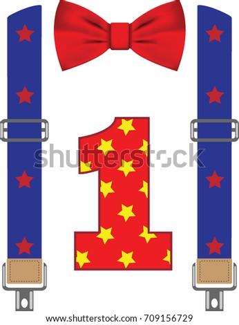 happy first birthday card bow tie のベクター画像素材 ロイヤリティ