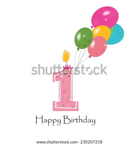 Happy first birthday colorful balloon vector background  - stock vector