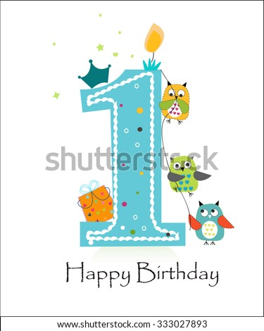 First birthday stock images royalty free images vectors happy first birthday with owls baby boy greeting card vector pronofoot35fo Gallery