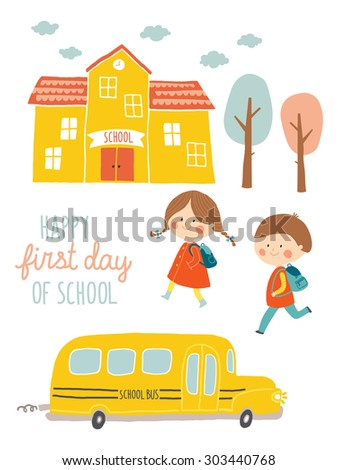Happy first day of school card design. Kids going to school. Cute boy and girl with school building and school bus. Cartoon vector clip art eps 10 illustration on white background. Hand lettering - stock vector