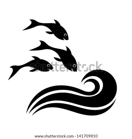 Happy Fish Jumping To The Water Vector Illustration