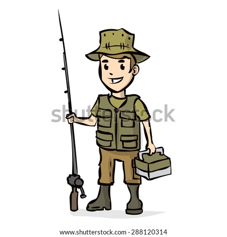 Happy fisherman holding a fishing rod. Hand drawn vector illustration. Isolated on white.