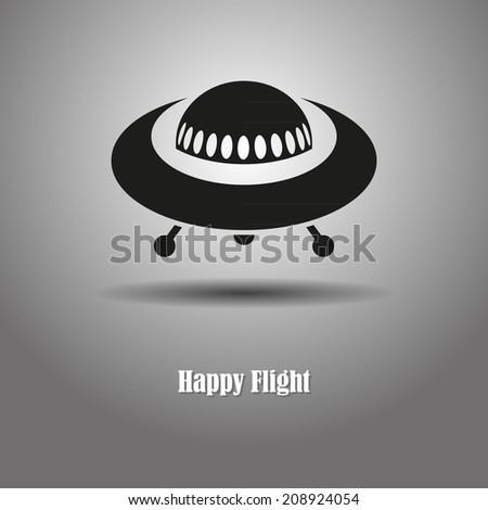 Happy flight UFO - stock vector