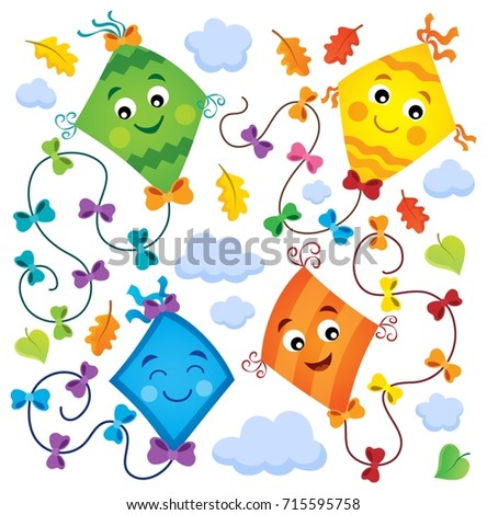 Happy flying kites thematic set 1 - eps10 vector illustration.