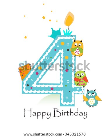 Happy fourth birthday with owls baby boy greeting card - stock vector