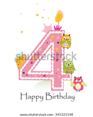 Happy fourth birthday with owls baby girl greeting card - stock vector