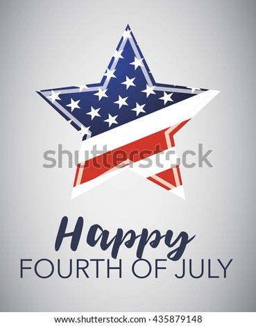 Happy Fourth of July emblem for the Independens day celebration. Isolated on gray. - stock vector