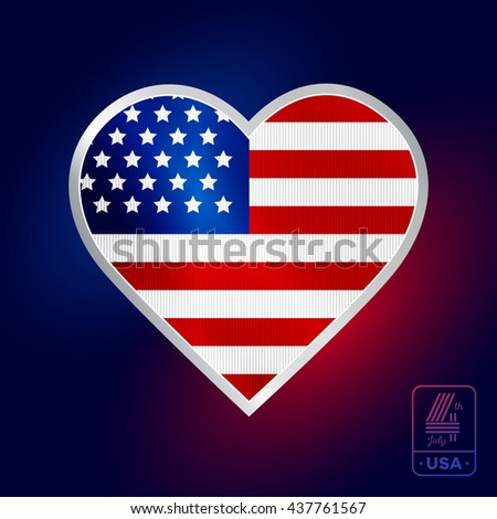 Happy fourth of July. Vector badge in heart shape for American Independence Day on dark background