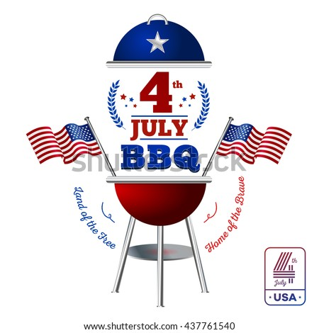 Happy fourth of July. Vector elements BBQ for American Independence Day on white background - stock vector