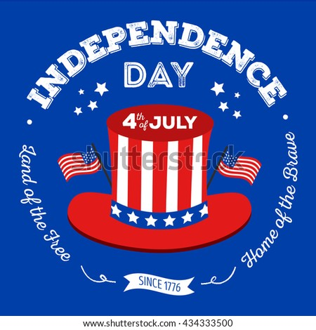 Happy fourth of July. Vector elements for American Independence Day on blue background. Vector Illustration for 4th of July – greeting card, poster, banner. - stock vector