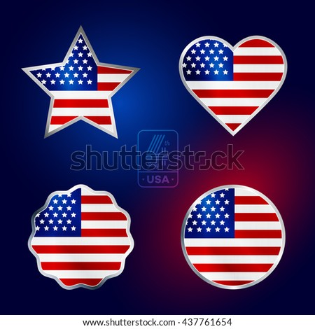 Happy fourth of July. Vector elements set for American Independence Day on dark background