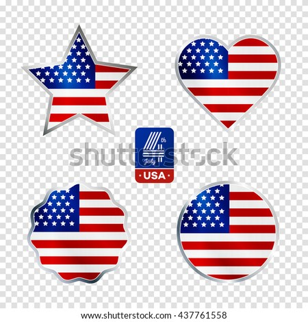 Happy fourth of July. Vector elements set for American Independence Day on transparent  background - stock vector