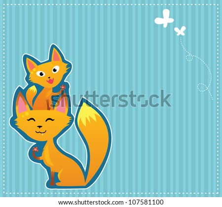 Happy foxes background - stock vector