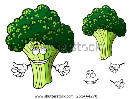 Happy fresh green healthy cartoon broccoli vegetable giving a thumbs up gesture with a second plain variation with no smile and separate hand and smile elements - stock vector