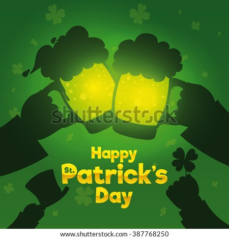 Happy friends celebrating St. Patrick's Day in the bar with a cheerful toast. - stock vector