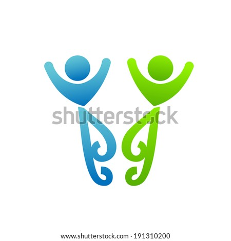 Happy friends meeting. Concept of partnership, friendly people, couple life. Vector image that represents engagement, union, love - stock vector