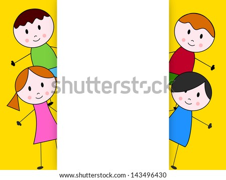 Happy Friendship day background or greeting card with cute little kids. - stock vector