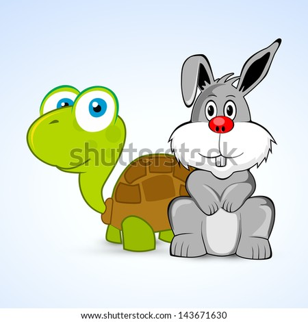 Happy Friendship day background with rabbit and tortoise.