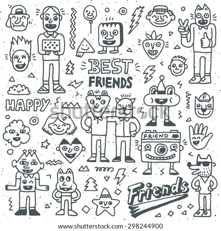 Happy Friendship Day. Best Friends Funny Cartoon Doodle Set. Vector Hand Drawn  Illustration Pattern. - stock vector