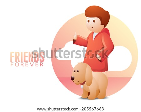 Happy Friendship Day Celebrations Concept With Little Boy With His Friend  Cute Dog On Creative Nature