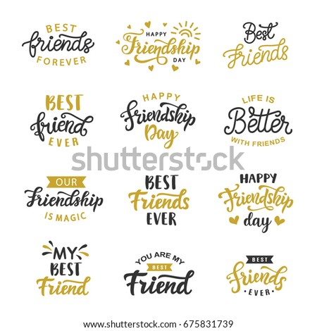 Happy Friendship Day Cute Hand Written Stock Vector 675831739