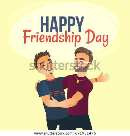 Nice Happy Friendship Day Greeting Card Design With Two Men, Friends Hugging  Each Other, Cartoon