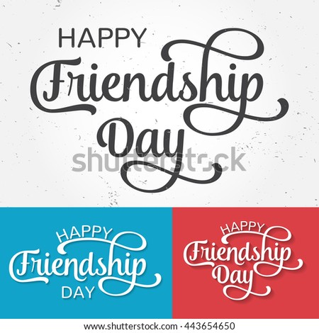 Happy Friendship Day Greeting Card Poster Stock Vector 443654650