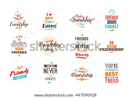 Happy Friendship day vector typographic colorful design. Inspirational quotes about friendship. Usable as friendship day greeting cards, posters. T-shirt for your friends. Best friends forever.
