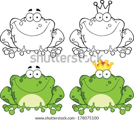 Happy Frog Sitting Cartoon Character. Set Vector Collection - stock vector