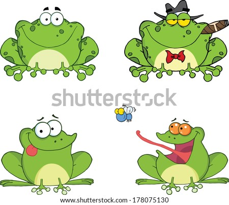 Happy Frogs Cartoon Characters 2. Set Vector Collection - stock vector