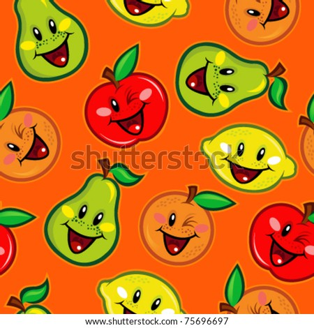 Happy Fruits Seamless Pattern on Orange Background - stock vector