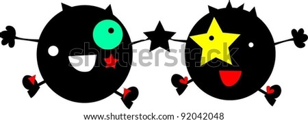 happy funny twins monsters - stock vector