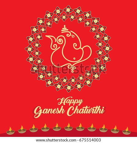 Happy ganesh chaturthi greeting card vector stock vector 675514003 happy ganesh chaturthi greeting card vector illustration also known as vinayagar chaturthi is a indian m4hsunfo